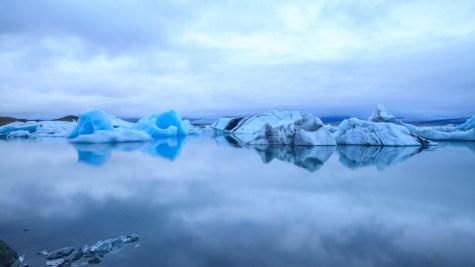 Floating icebergs in Jokulsarlon Glacial Lake, Southern Iceland