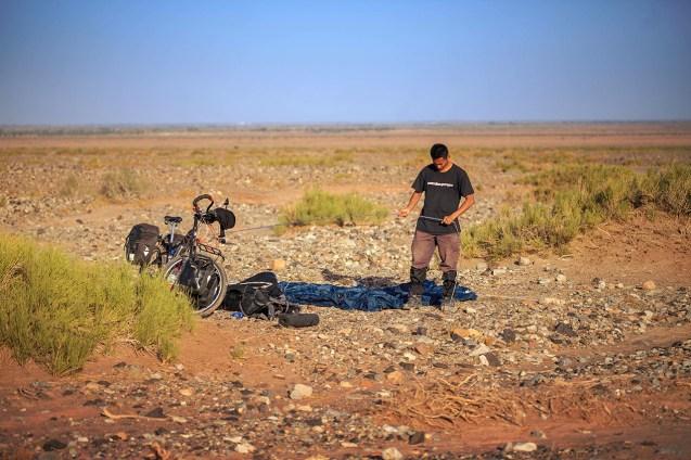preparing to camp, Taklamakan Desert