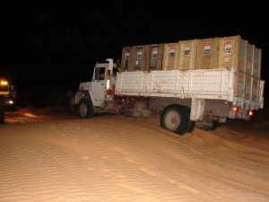 3 Lorry Stucking in the Sand during Night Drive to Djebil (picture Heiner Engel)