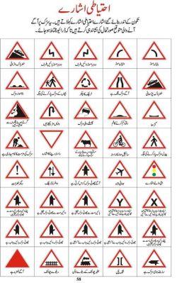 Pakistan Traffic Precaution Signs in Urdu