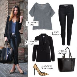 look-pantalones-camiseta en negro + calzado color especial