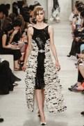 CHANEL resort 2014 Singapore - black and white feather ruffle dress Ii