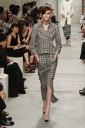 CHANEL resort 2014 Singapore - Gold and black jacket and skirt