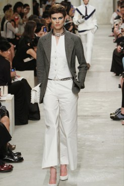 CHANEL resort 2014 Singapore - White pants and top & grey jacket