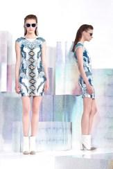 Just Cavalli Resort 2014 - Printed white and blue dress