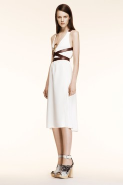Altuzarra Resort 2014 - White dress with brown leather