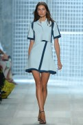 Lacoste Spring 2014 - Women Baby blue and navy blue top and skirt