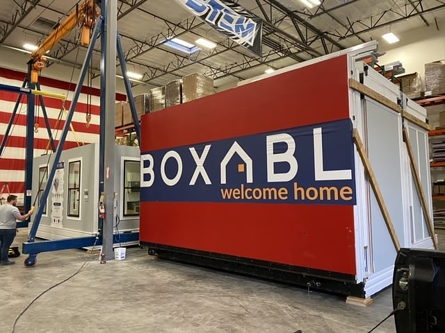 Boxabl sample unit in warehouse