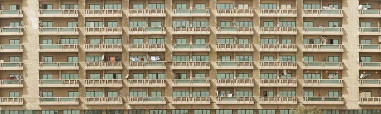 balcony facade of an urban apartment building