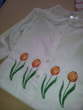 Fabric painted tulips on girl's shirt
