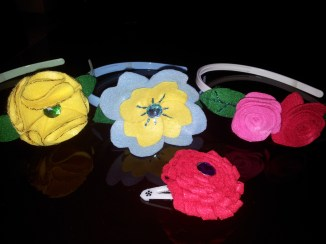 Hair accessories decorated with felt flowers