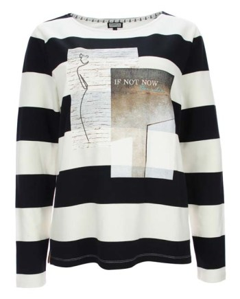 Pruhovaný bílo-černý svetr s motivem Kenny S