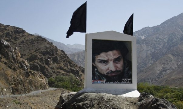 A picture of slain Afghan national hero Ahmad Shah Massoud is set along the road in Panjshir province