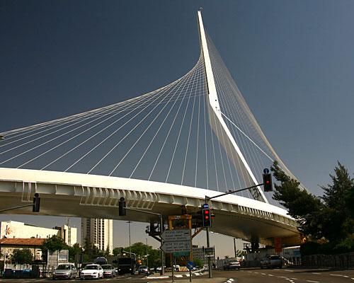Pont à cordes de Calatrava à Jérusalem
