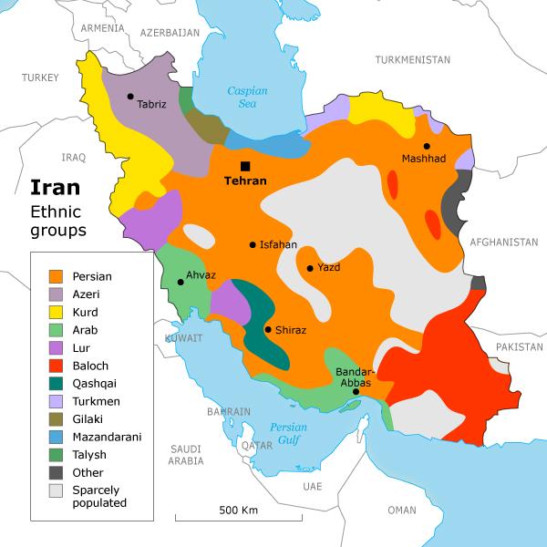 Carte ethnique de l'Iran