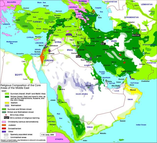 Carte religieuse de l'Iran et ses voisins