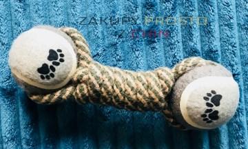 Zabawka dla psa lina z piłeczkami