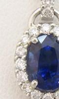 リフォーム制作したサファイアをメレダイヤで取り巻いたペンダント