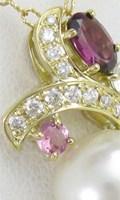 真珠とダイヤモンド、マルチカラー宝石を使ったリフォームペンダント