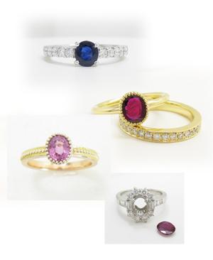 シンプルでかわいらしい色石の指輪のリフォーム画像