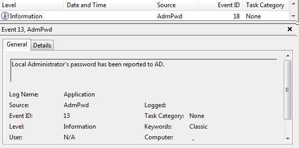 Event ID13 AdmPwd - save password in AD