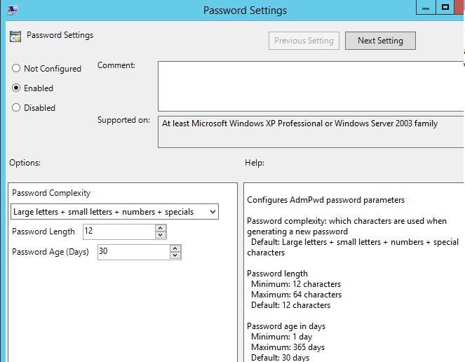 LAPS admin password GPO settings