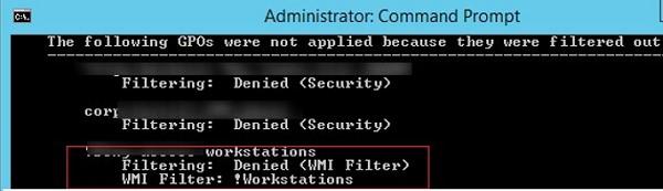 gpresult: Filtering Denied WMI Filter