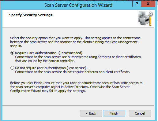 scan server configuration - authentication settings