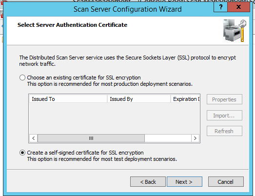 select Distributed Scan Server SSL certificate