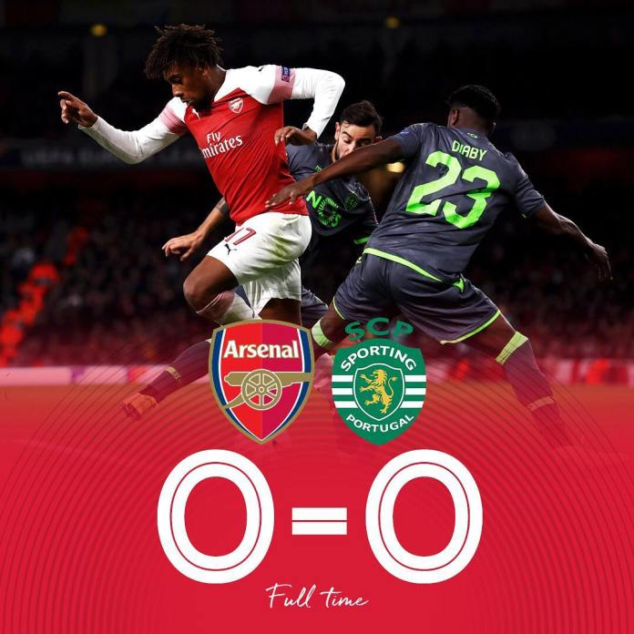 Arsenal play to a goalless draw against Sporting Lisbon