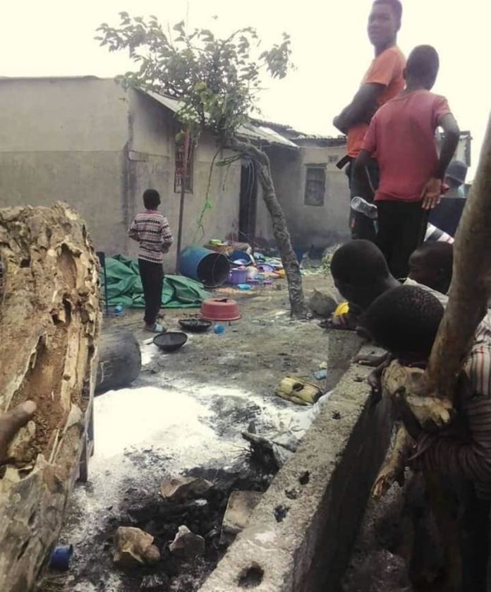 The funeral house which was ransacked in Friday by PF cadres in Kanyama
