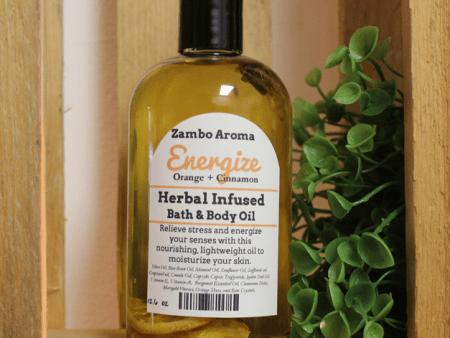 energize orange cinnamon body oil