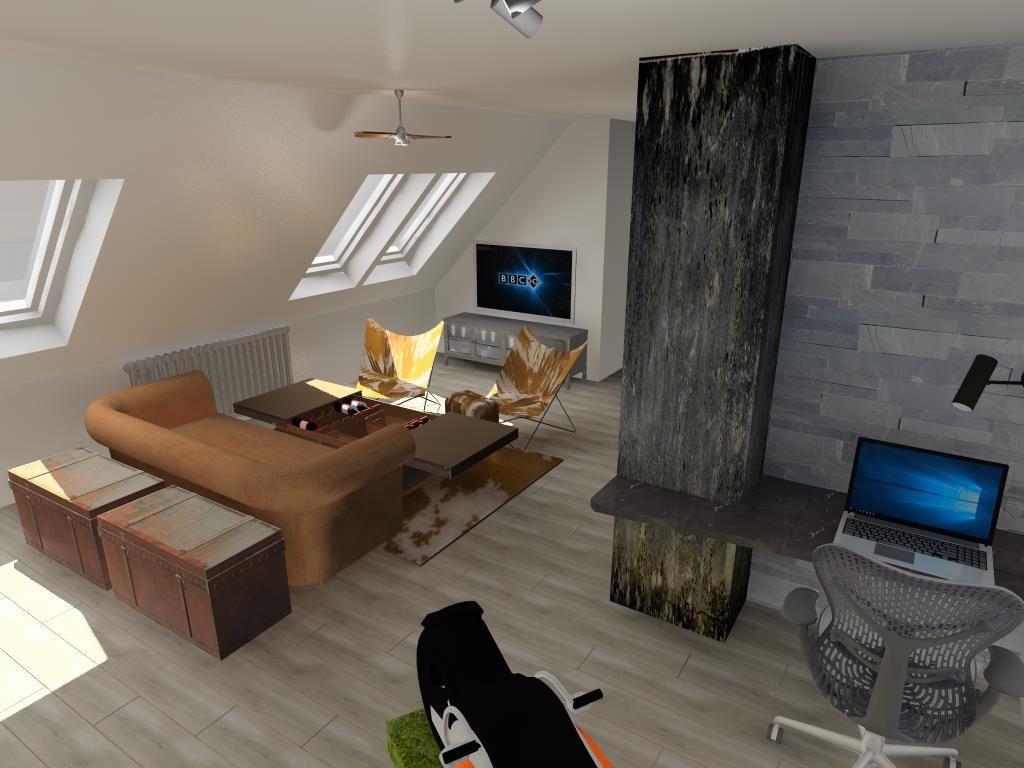 Tetőtéri nappali  home-office sarokkal