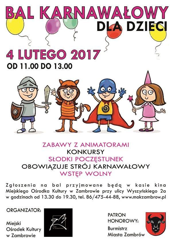 Bal Karnawałowy Dla Dzieci Zaproszenie Zambrowiacypl