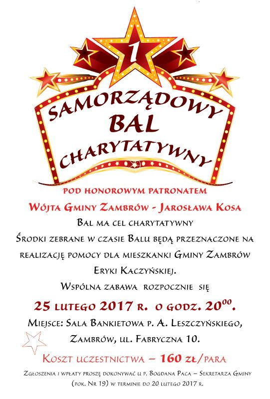 Samorządowy Bal Charytatywny Zaproszenie Zambrowiacypl