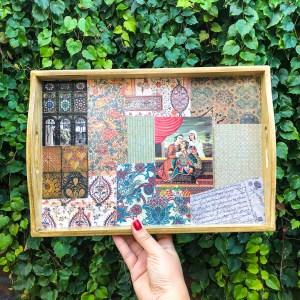 Nabat handmade wooden tray 45cm x 35 cm golestan
