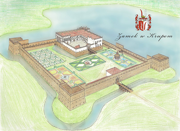 Rekonstrukcja lub stary widok zamku krupe
