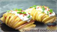 عکس به دستور غذا: سیب زمینی Garmoshka، پخته شده در کوره، با بیکن و پنیر