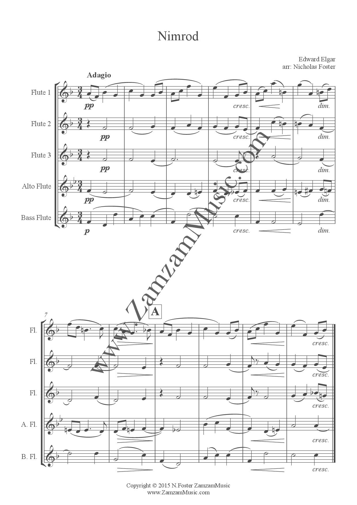 Elgar, Edward  - Nimrod from Enigma Variations  3 flutes, Alto, Bass  flutes  - Zamzam Music