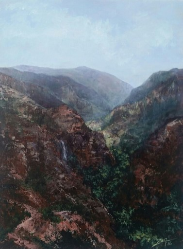 Kauai Valley Gorge - 12x16 acrylic palette knife - All images are copyright © Suzan Savage. Copying, altering , displaying, printing or redistribution of any images without written permission from the Artist is strictly prohibited.