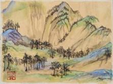 Wang Ximeng Study A Thousand Li - 9x12 acrylic and ink on canvas - Zan Savage