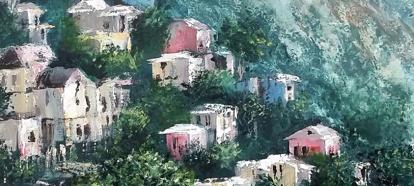 Acrylic Amalfi Coast Dwellings