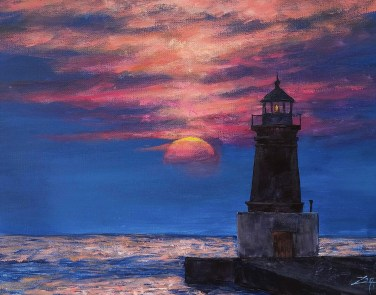 Lighthouse Sunset 11x14 acrylic All images are copyright © Zan Savage. Copying, altering, printing or redistribution of any images without written permission from the Artist is strictly prohibited.