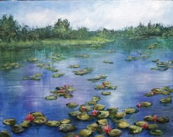 Water Lillies 11x14 acrylic All images are copyright © Zan Savage. Copying, altering, printing or redistribution of any images without written permission from the Artist is strictly prohibited.