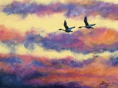 Tundra Swans at Sunrise - 9x12 acrylic © Zan Savage - All images are copyright © Zan Savage. Copying, altering, printing or redistribution of any images without written permission from the Artist is strictly prohibited.