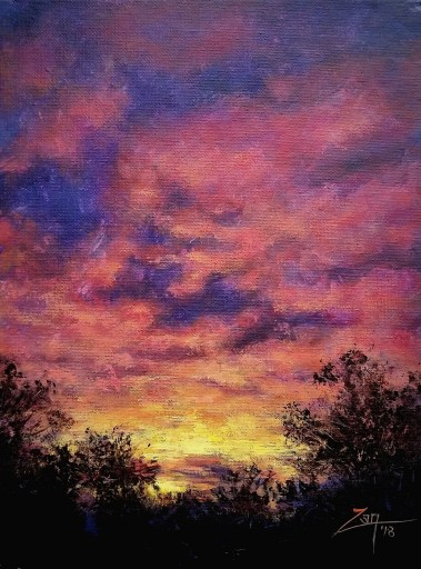 Texas Sunset 9x12 acrylic ©Zan Savage Image is a Zan Savage original. Copying, altering, printing or redistribution of any images without written permission from the Artist is strictly prohibited.