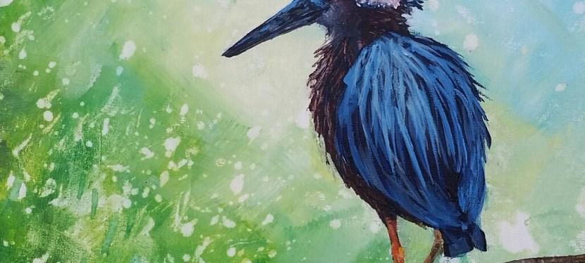 Acrylic Festive Heron