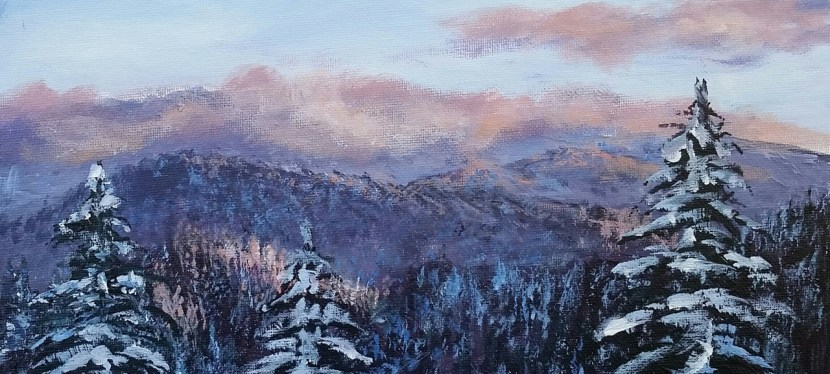 Acrylic Snowy Mountains in the Clouds