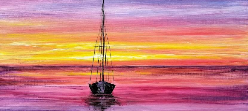 Acrylic Sunrise at Sea
