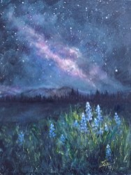 Celestial Meadow 9x12 acrylic ©Zan Savage Image is a Zan Savage original. Copying, altering, printing or redistribution of any images without written permission from the Artist is strictly prohibited.